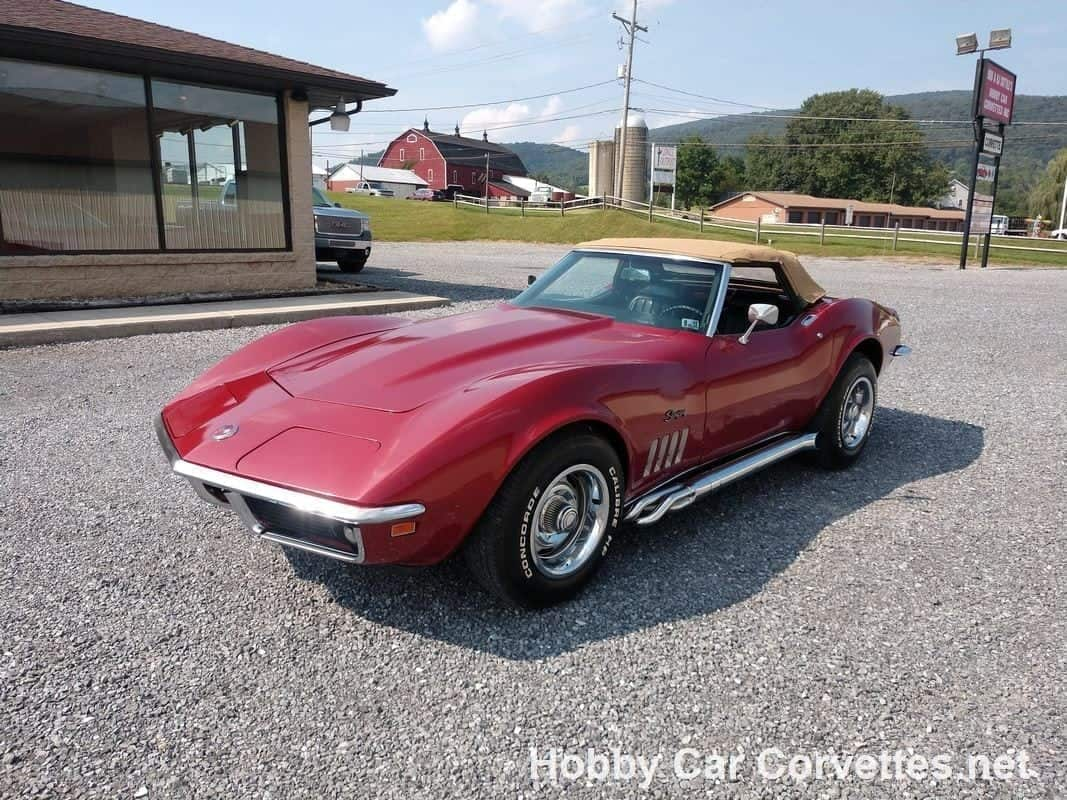 1969 Burgundy Corvette Convertible Stingray For Sale