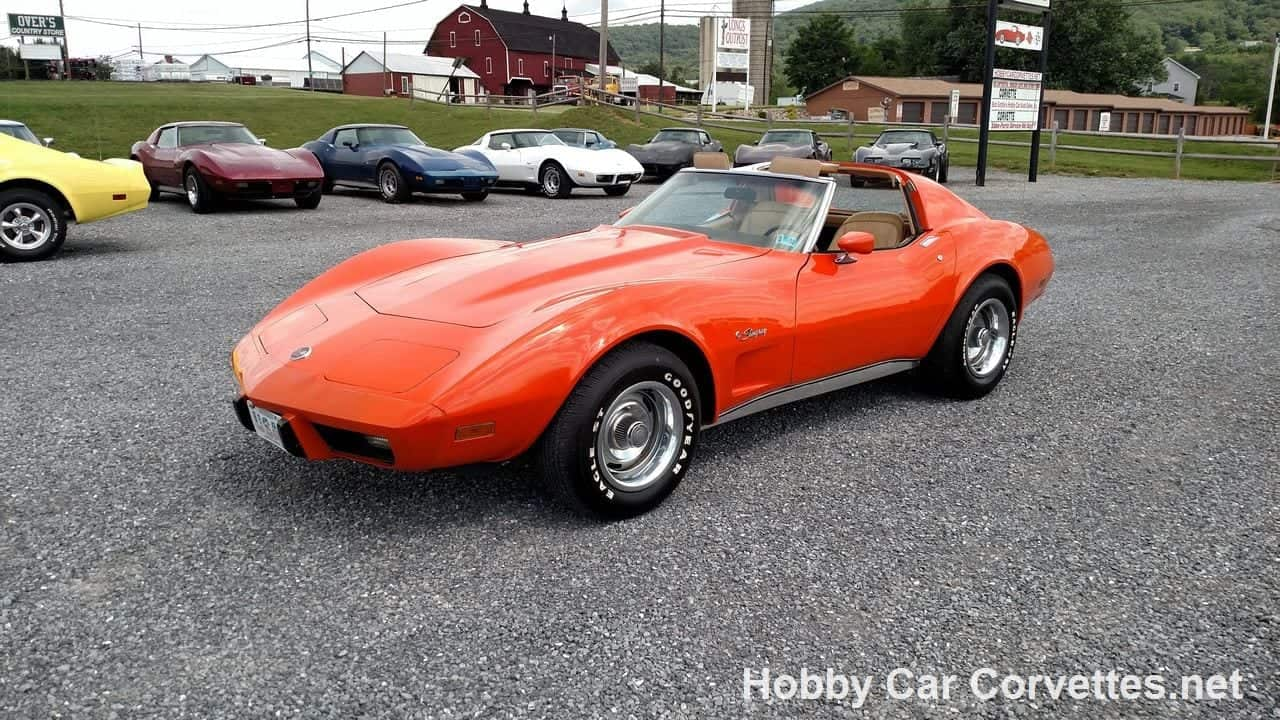 1976 Orange Flame Corvette 4 Speed Manual For Sale