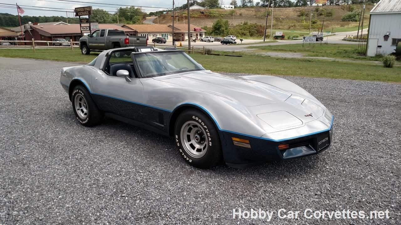 1981 Silver/Dark Blue Corvette Blue Leather Int For Sale
