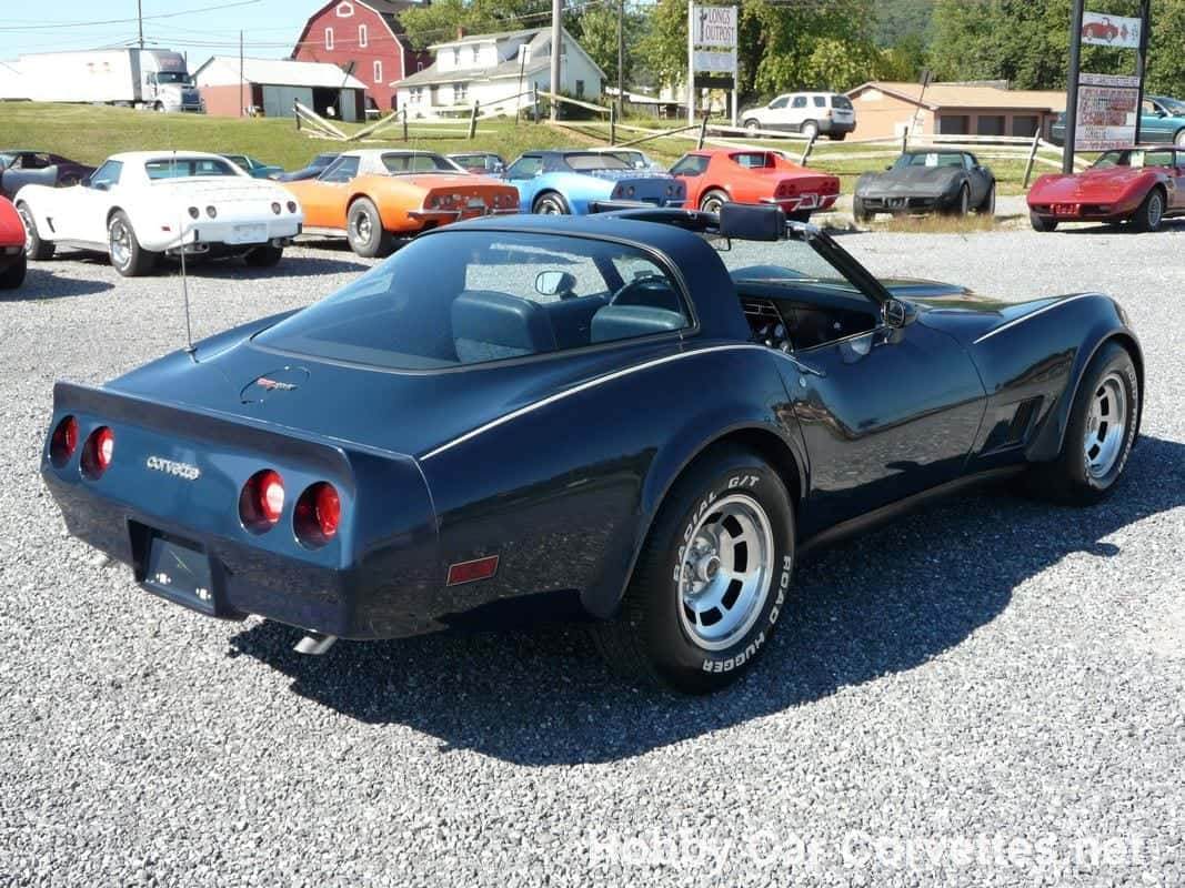 1981 Dark Blue Corvette T Top Blue Int